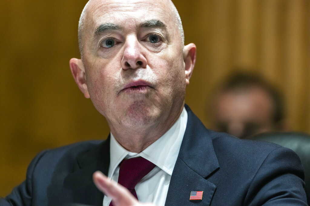 Secretary of Homeland Security Alejandro Mayorkas testifies before a Senate Homeland Security and Governmental Affairs Committee hearing, Tuesday, Sept. 21, 2021 on Capitol Hill in Washington. (Jim Lo Scalzo/Pool via AP)
