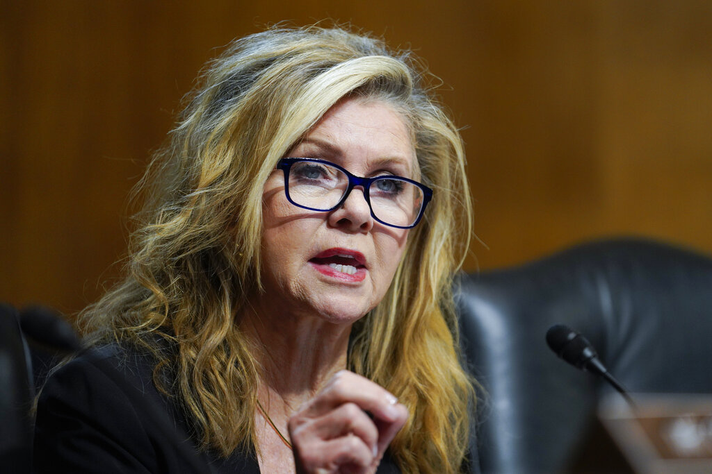 Sen. Marsha Blackburn, R-Tenn., speaks before the Senate Judiciary Subcommittee on Competition Policy, Antitrust, and Consumer Rights, Tuesday, Sept. 21, 2021 in Washington. (Ting Shen/Pool via AP)