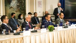 Kuwaiti Foreign Minister Sheikh Ahmed Nasser Al-Mohammed Al-Sabah, left, and Qatar's Deputy Prime Minister and Minister of Foreign Affairs Mohammed bin Abdulrahman Al-Thani, second right, join U.S. Secretary of State Antony Blinken (not pictured) during a meeting with Foreign Ministers of the Gulf Cooperation Council (GCC) countries on the sidelines of the 76th Session of the U.N. General Assembly in New York, Thursday, Sept. 23, 2021. (Eduardo Munoz/Pool Photo via AP)