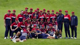 Victorious Team USA poses for a picture after the Ryder Cup matches at the Whistling Straits Golf Course Sunday, Sept. 26, 2021, in Sheboygan, Wis. (AP Photo/Ashley Landis)