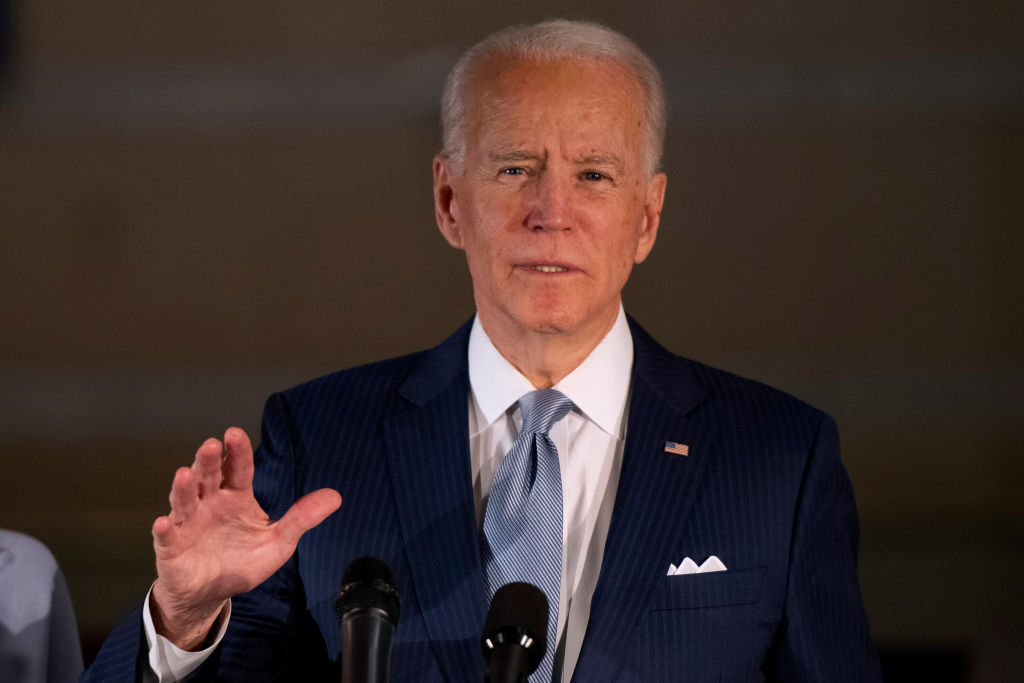 PHILADELPHIA, PA - MARCH 10: Democratic Presidential candidate former Vice President Joe Biden addresses the media and a small group of supporters during a primary night event on March 10, 2020 in Philadelphia, Pennsylvania. Six states - Idaho, Michigan, Mississippi, Missouri, Washington, and North Dakota held nominating contests today. (Photo by Mark Makela/Getty Images)
