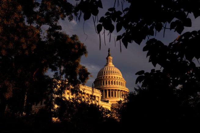WASHINGTON, DC - SEPTEMBER 25: The U.S. Capitol on September 25, 2021 in Washington, DC. The House Budget Committee is expected to advance Democrats $3.5 trillion social spending plan during a rare Saturday session, setting it up for a full floor vote next week. (Photo by Stefani Reynolds/Getty Images)