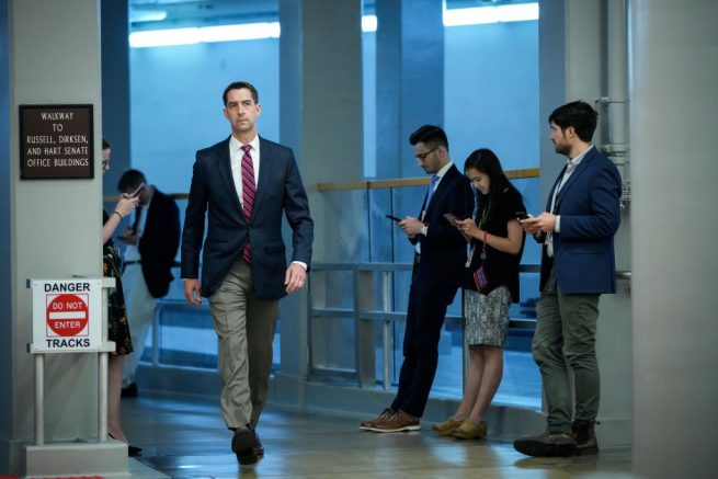 WASHINGTON, DC - JUNE 21: U.S. Sen. Tom Cotton (R-AR) walks through the Senate subway on his way to a vote at the Capitol on June 21, 2021 in Washington, DC. With a July 4 recess upcoming, Congress will resume negotiations this week on voting rights, infrastructure and police reform legislation. (Photo by Drew Angerer/Getty Images)
