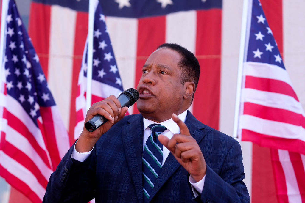 Republican gubernatorial candidate Larry Elder speaks to supporters during an Asian Rally for Yes Recall at the Asian Garden Mall in Little Saigon, Westminster, California, on September 4, 2021 - The recall election, which will be held on September 14, 2021, asks voters to respond two questions: whether Newsom, a Democratic, should be recalled from the office of governor, and who should succeed Newsom if he is recalled. Forty-six candidates, including nine Democrats and 24 Republicans, are looking to take Newsom's place as the governmental leader of California. (Photo by RINGO CHIU / AFP) (Photo by RINGO CHIU/AFP via Getty Images)