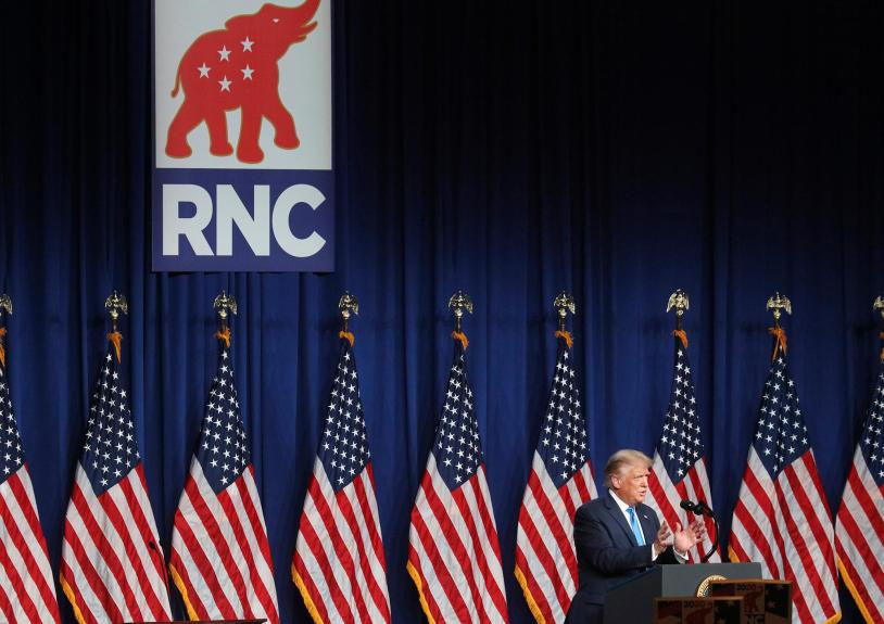 President Donald Trump speaks during the first day of the Republican National Convention Monday, Aug. 24, 2020, in Charlotte, N.C. (Chris Carlson/AP PHOTO)