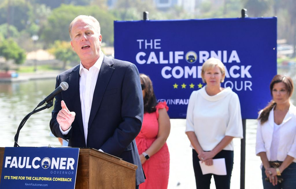 California Recall Election Republican candidate Kevin Faulconer speaks about his women's empowerment plan at a news conference in Los Angeles, California on August 30, 2021. - The recall election for California Governor Gavin Newsom is on September 14th. (Photo by Frederic J. BROWN / AFP) (Photo by FREDERIC J. BROWN/AFP via Getty Images)
