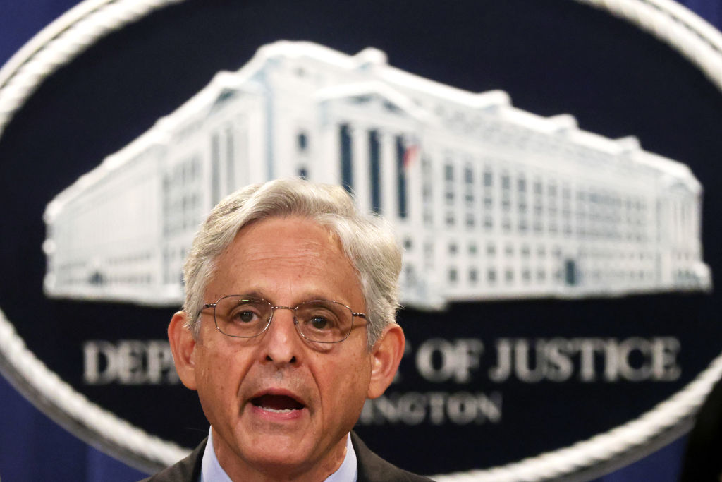 WASHINGTON, DC - SEPTEMBER 09: U.S. Attorney General Merrick Garland speaks during a news conference to announce a civil enforcement action at the Department of Justice September 9, 2021 in Washington, DC. Attorney General Garland said the Department of Justice is filing a lawsuit against the state of Texas over the state's restrictive law to ban almost all abortions. (Photo by Alex Wong/Getty Images)
