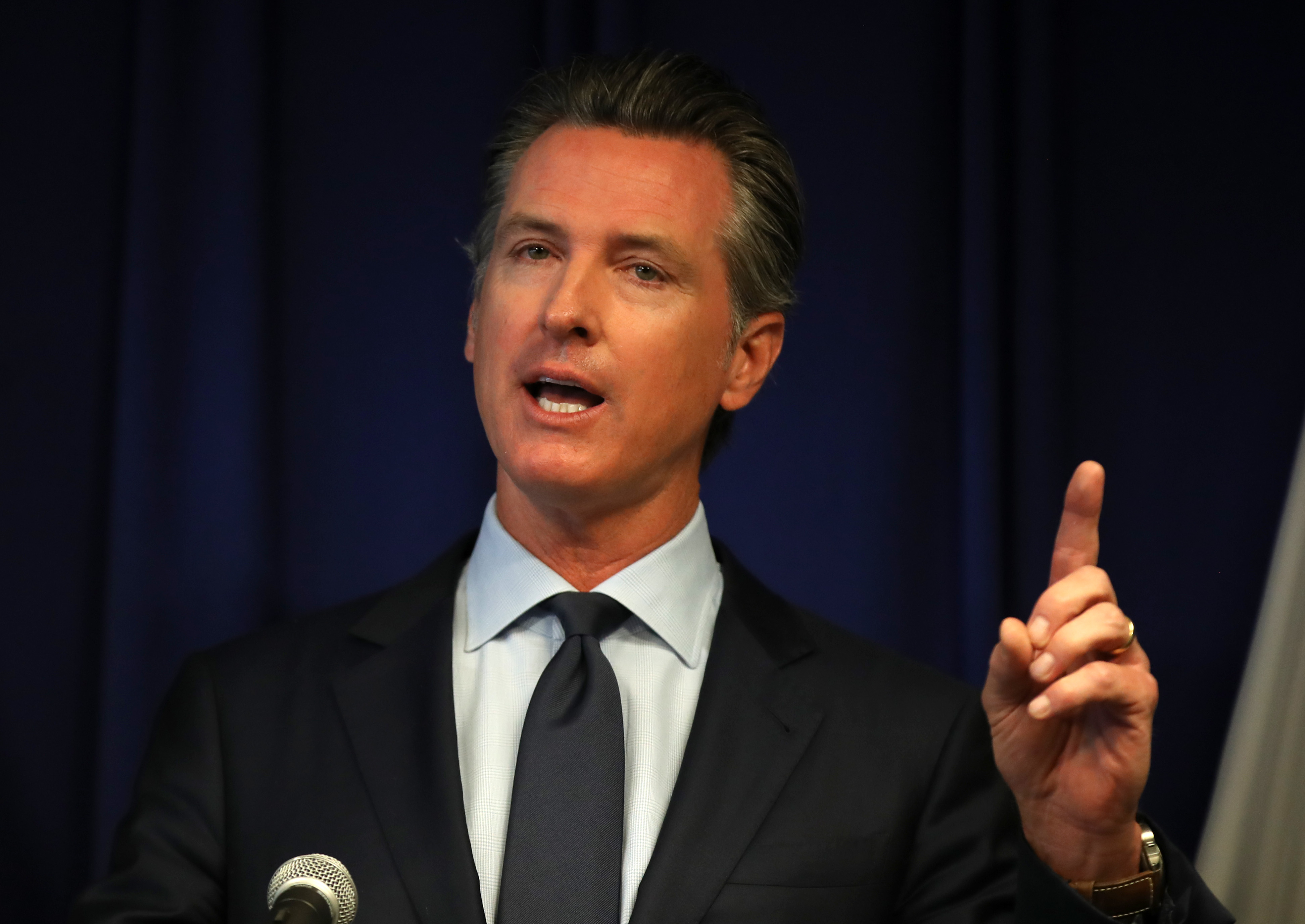California Gov. Gavin Newsom speaks during a news conference in Sacramento, California. (Photo by Justin Sullivan/Getty Images)
