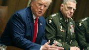 President Donald Trump speaks as Joint Chiefs of Staff Chairman, Army General Mark Milley looks on after a briefing from senior military leaders in the Cabinet Room at the White House in Washington, D.C. (Photo by Mark Wilson/Getty Images)