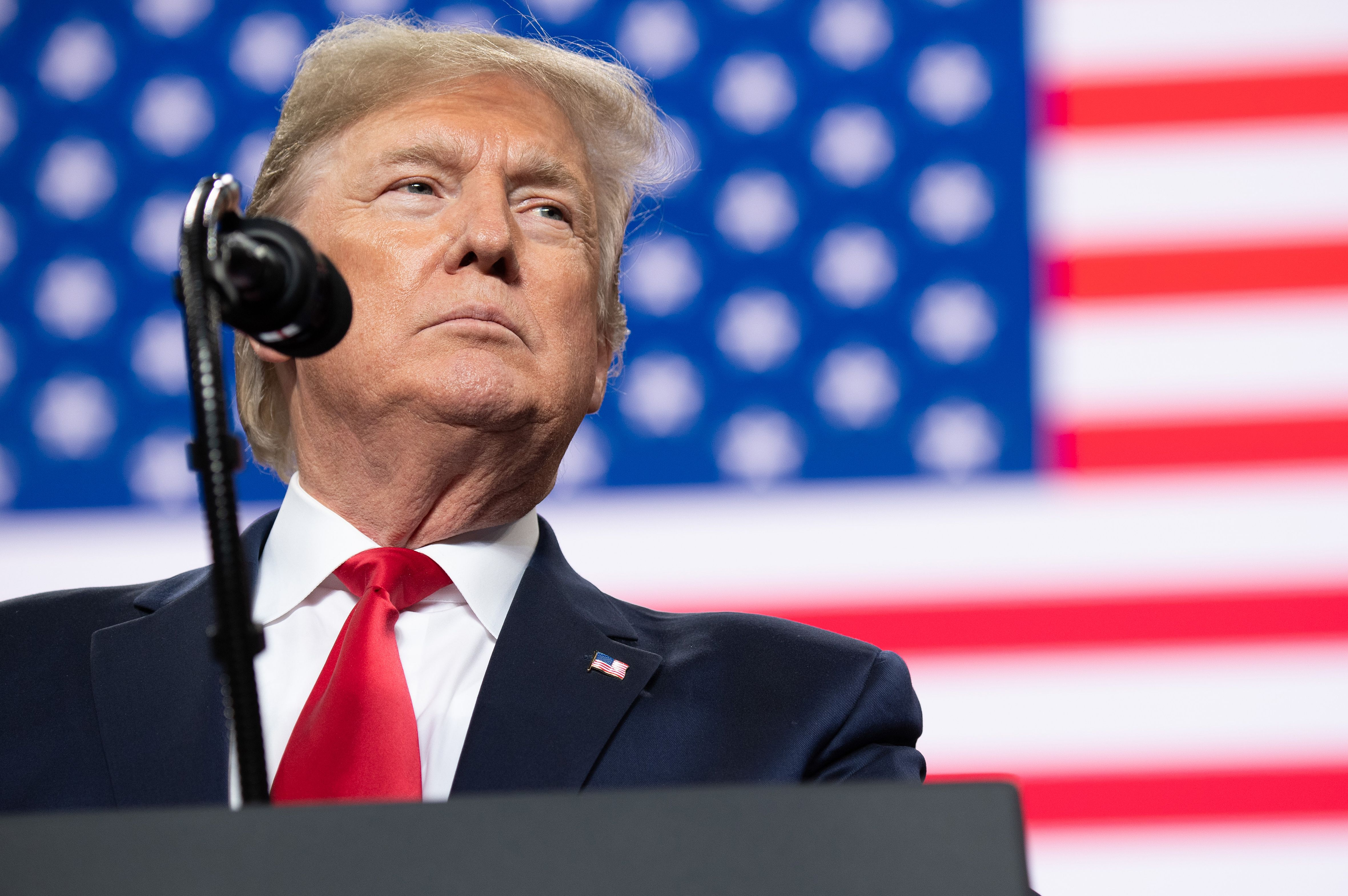 """President Donald Trump speaks during a """"Keep America Great"""" campaign rally at Huntington Center in Toledo, Ohio, on January 9, 2020. (Photo by SAUL LOEB / AFP) (Photo by SAUL LOEB/AFP via Getty Images)"""
