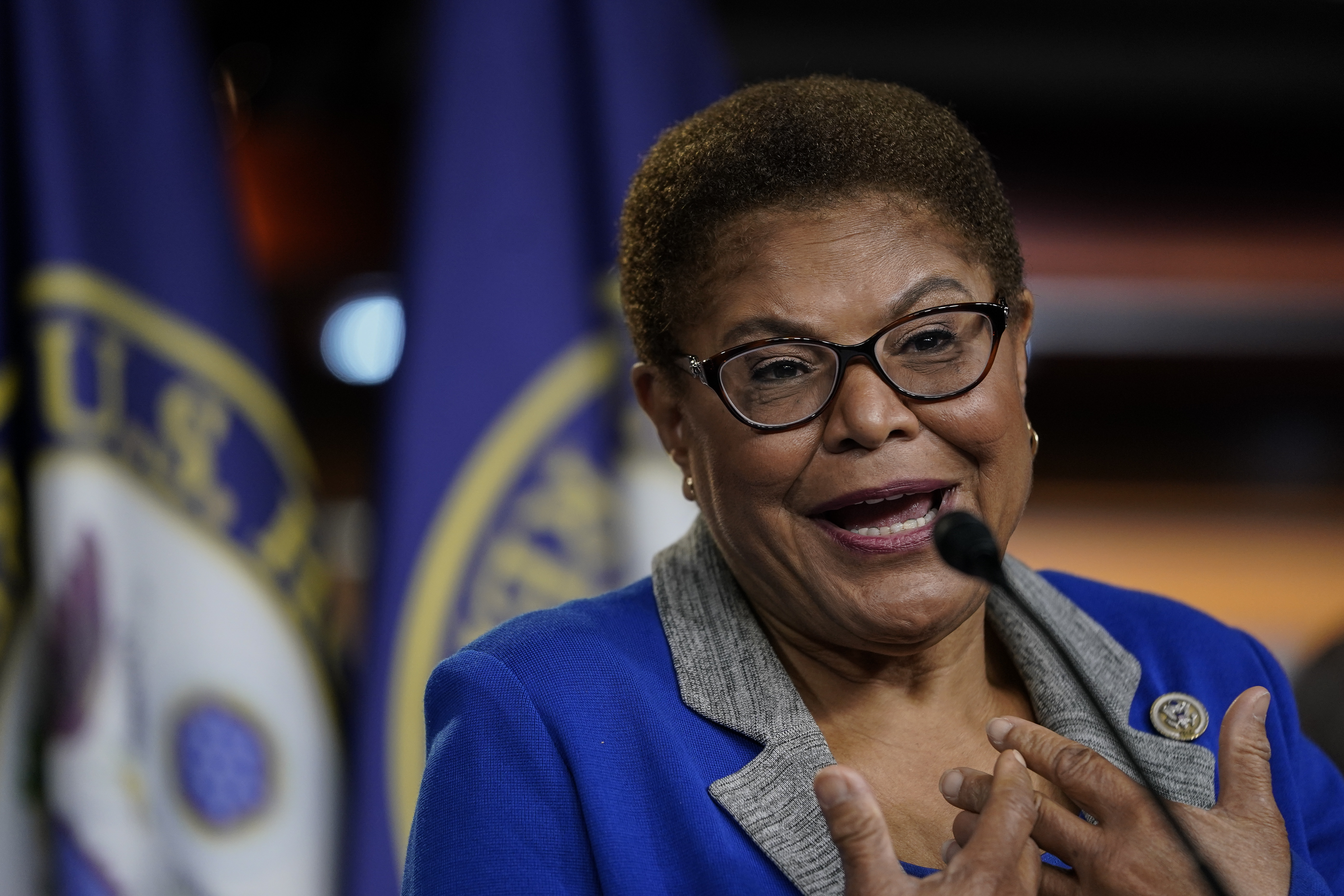 Rep. Karen Bass (D-Calif.) on Capitol Hill in Washington D.C. (Photo by Drew Angerer/Getty Images)
