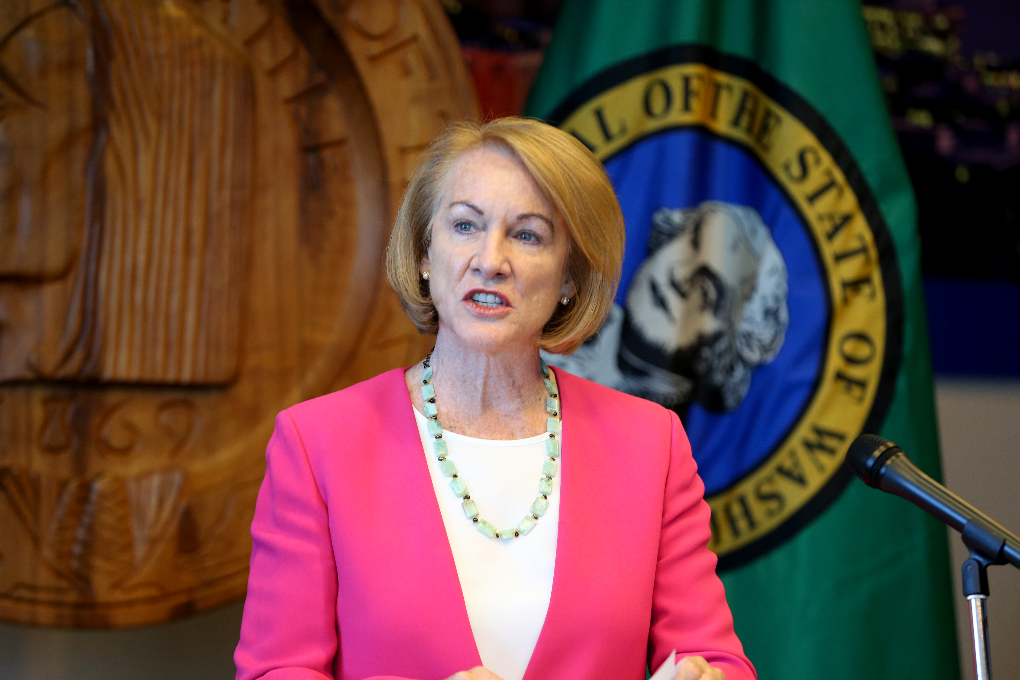 Seattle Mayor Jenny Durkan at Seattle City Hall in Seattle, Washington. (Photo by Karen Ducey/Getty Images)
