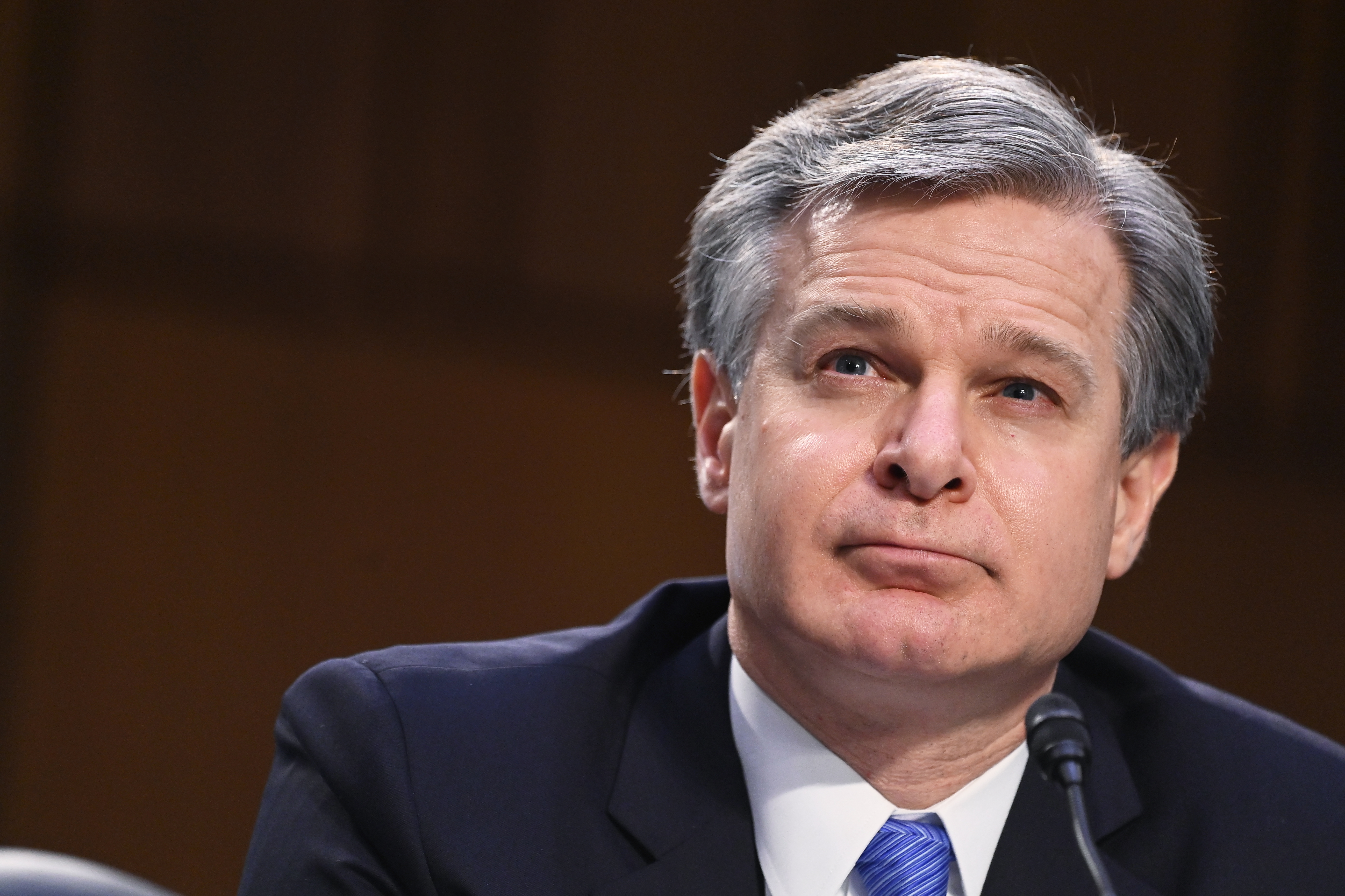 FBI Director Christopher Wray in Washington, DC. (Photo by Mandel Ngan-Pool/Getty Images)
