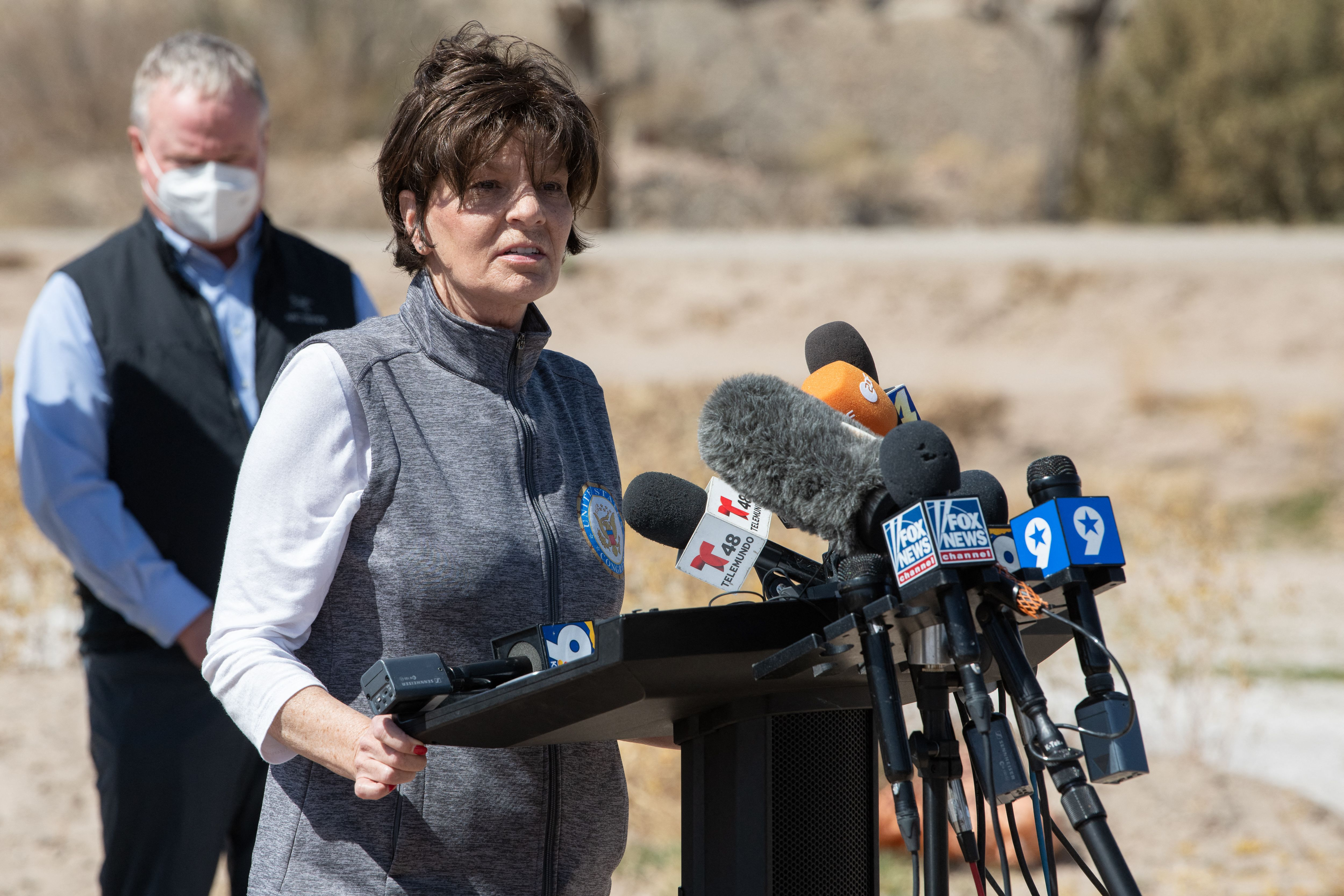 Rep. Yvette Herrell (R-N.M.) addresses the press during the congressional border delegation visit to El Paso, Texas. (Photo by JUSTIN HAMEL/AFP via Getty Images)