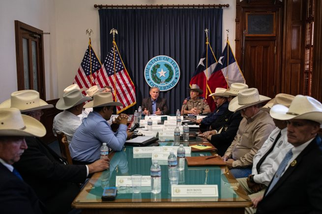 Texas Gov. Greg Abbott speaks during a border security briefing with sheriffs from border communities at the Texas State Capitol in Austin, Texas.  (Photo by Tamir Kalifa/Getty Images)
