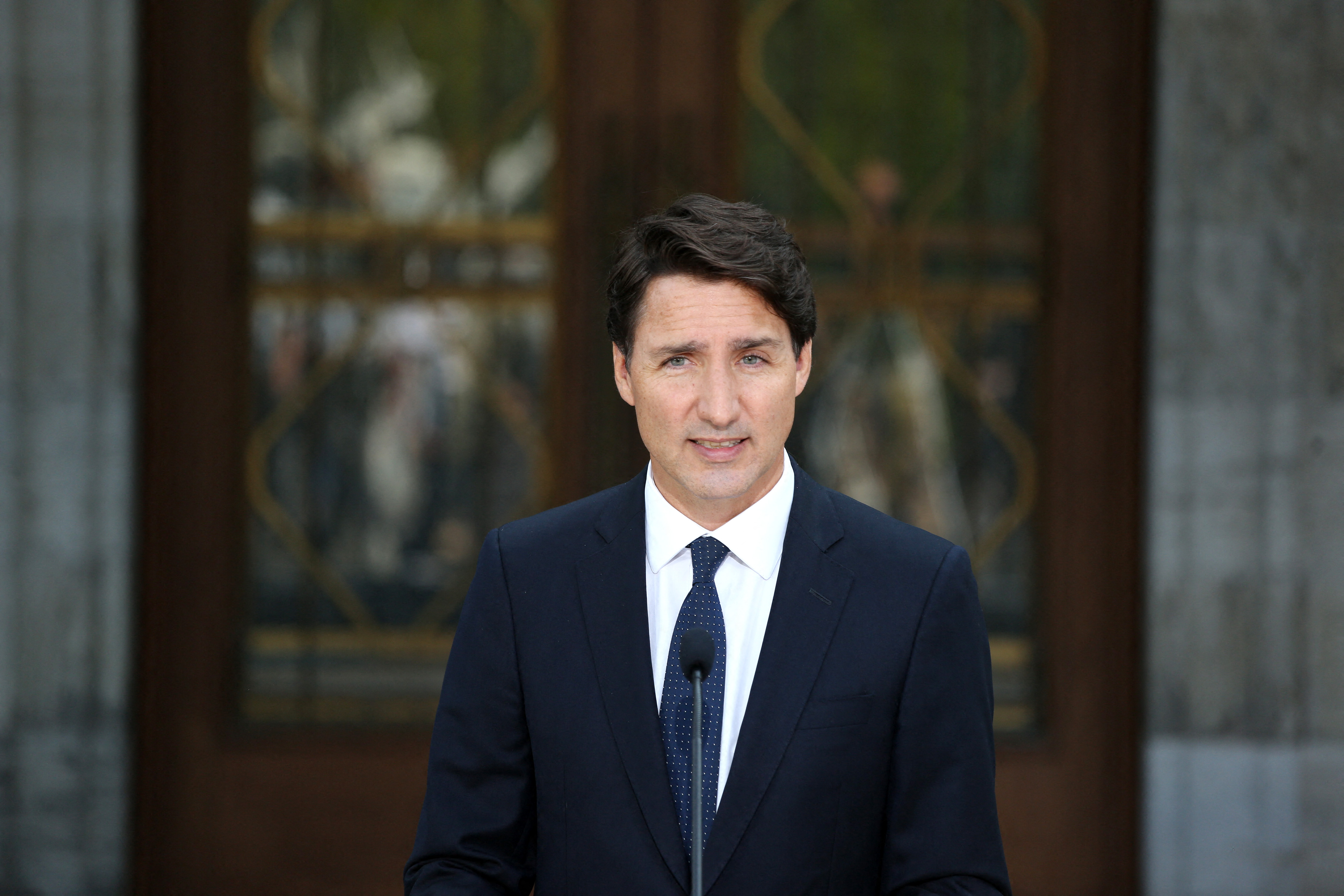 Canada's Prime Minister Justin Trudeau speaks during a news conference at Rideau Hall after asking Governor General Mary Simon to dissolve Parliament in Ottawa, Canada.(Photo by DAVE CHAN/AFP via Getty Images)