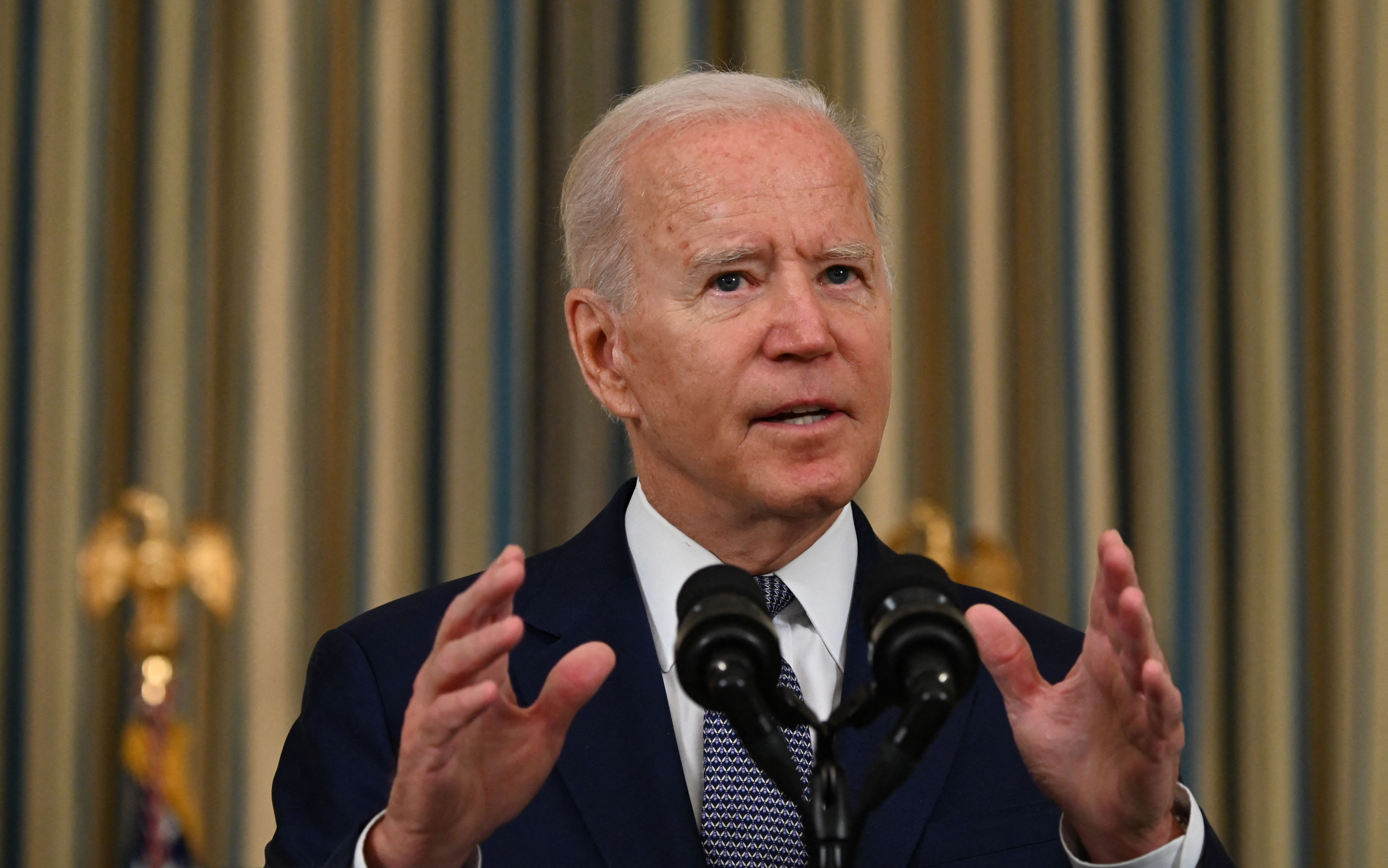 Joe Biden delivers remarks on the August jobs report in the State Dining Room at the White House in Washington, D.C. (Photo by JIM WATSON/AFP via Getty Images)