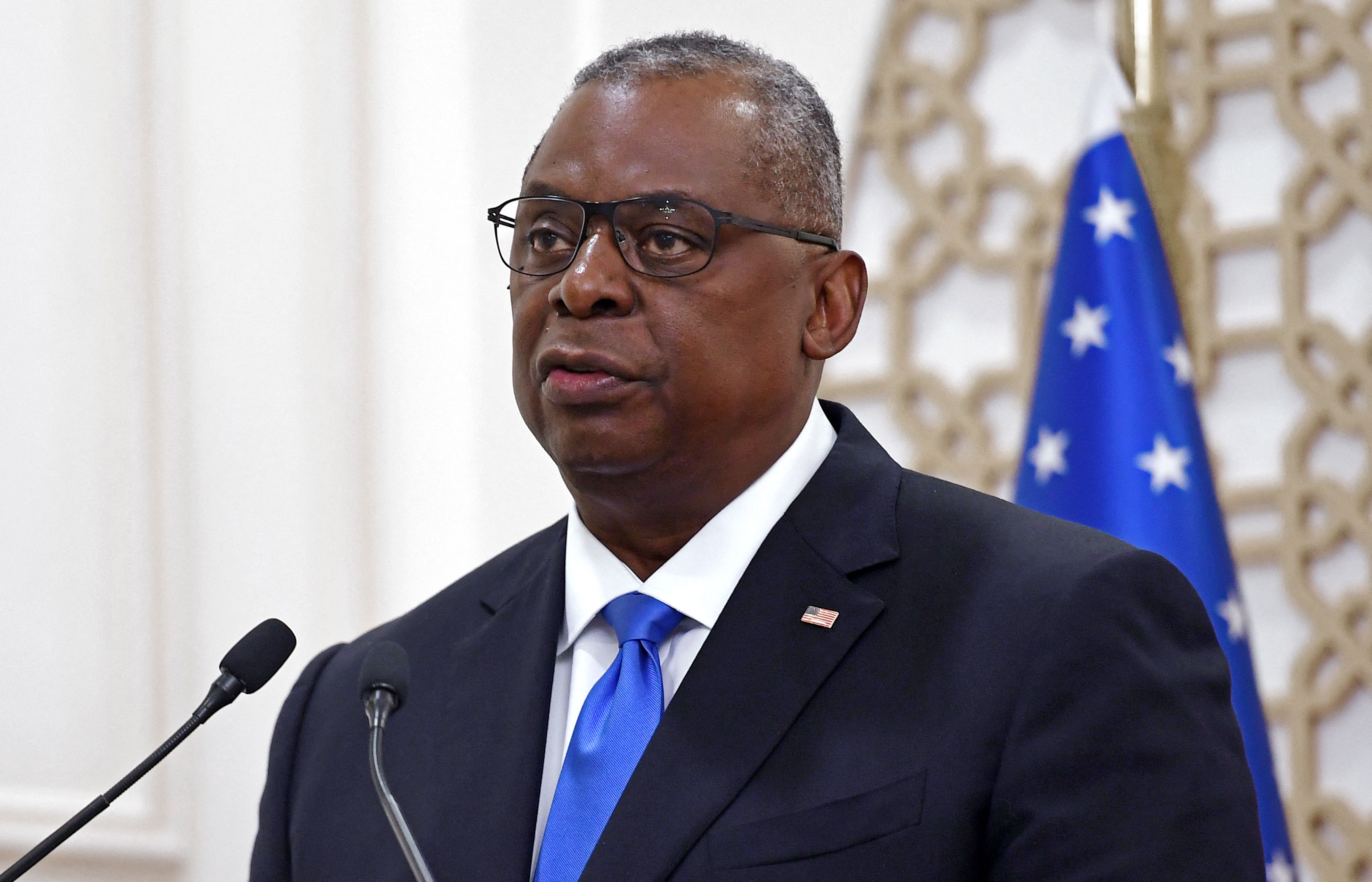 Secretary of Defense Lloyd Austin speaks during a joint press conference at the Ministry of Foreign Affairs in the Qatari capital Doha. (Photo by OLIVIER DOULIERY/POOL/AFP via Getty Images)