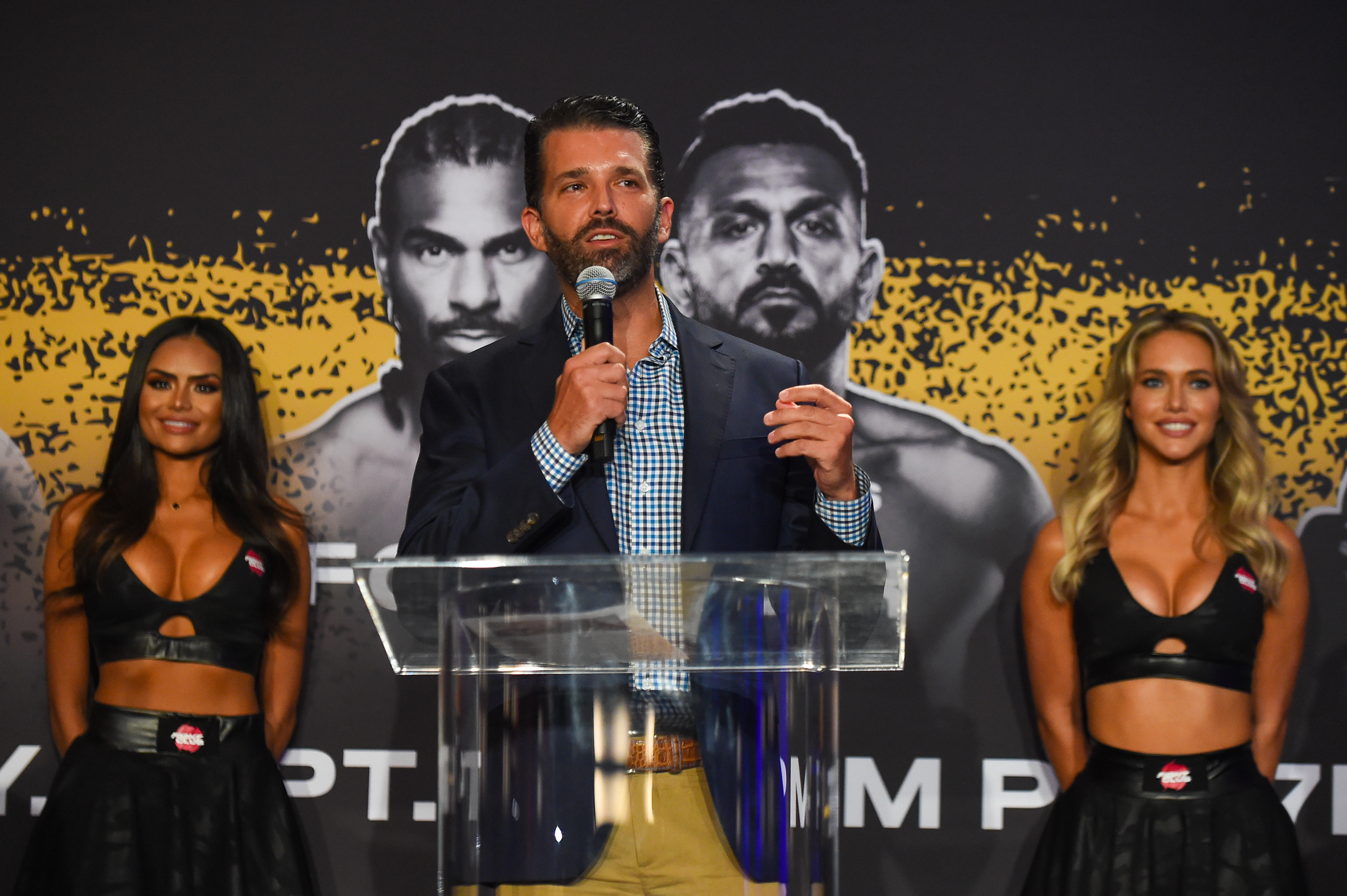 Donald Trump Jr. speaks during a press conference ahead of the heavyweight fight between Evander Holyfield and Vitor Belfort on September 11 at The Harbor Beach Marriott on September 9, 2021 in Fort Lauderdale, Florida. (Photo by Eric Espada/Getty Images)