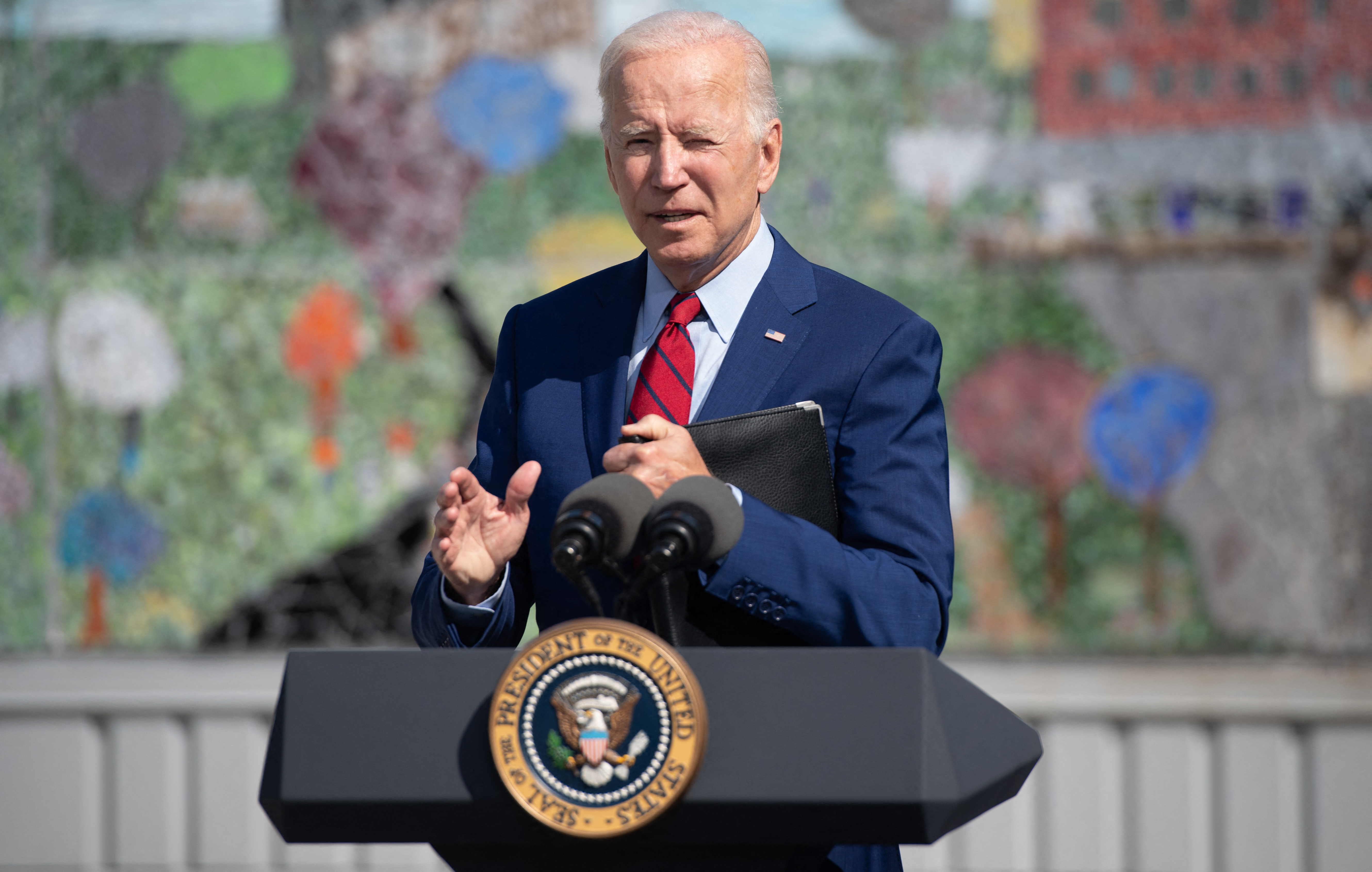 Joe Biden speaks about coronavirus protections in schools during a visit to Brookland Middle School in Washington, D.C. (Photo by SAUL LOEB/AFP via Getty Images)