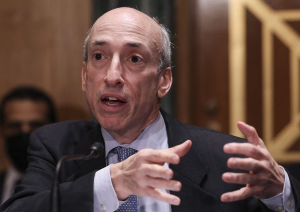 """Gary Gensler,Chair of the Securities and Exchange Commission (SEC), testifies during the Senate Banking, Housing, and Urban Affairs Committee hearing on """"Oversight of the US Securities and Exchange Commission"""" on September 14, 2021 in Washington, D.C. (Photo by EVELYN HOCKSTEIN/POOL/AFP via Getty Images)"""