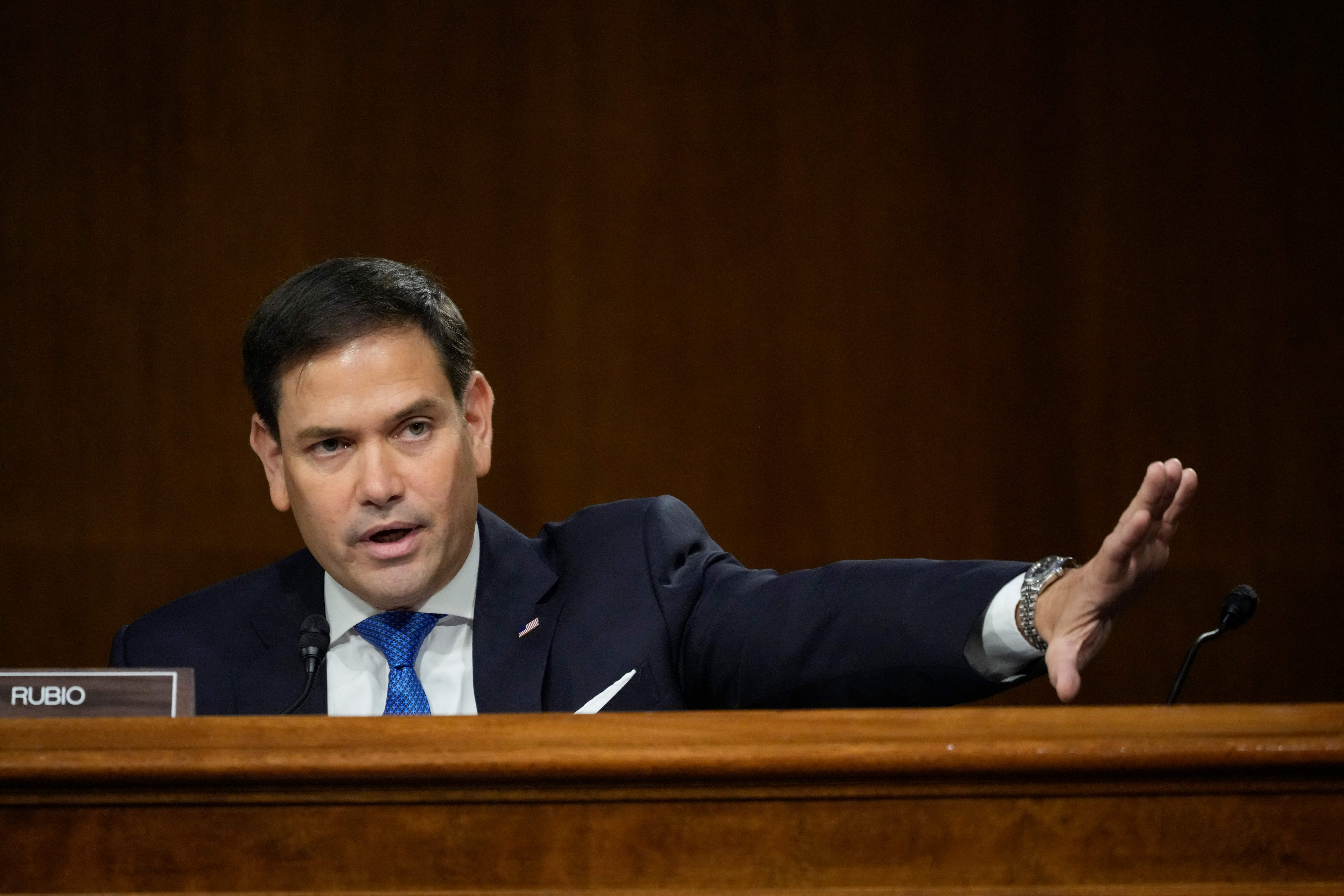 Sen. Marco Rubio (R-Fla.) questions US Secretary of State Antony Blinken during a Senate Foreign Relations Committee hearing on Capitol Hill in Washington, D.C. (Photo by DREW ANGERER/POOL/AFP via Getty Images)