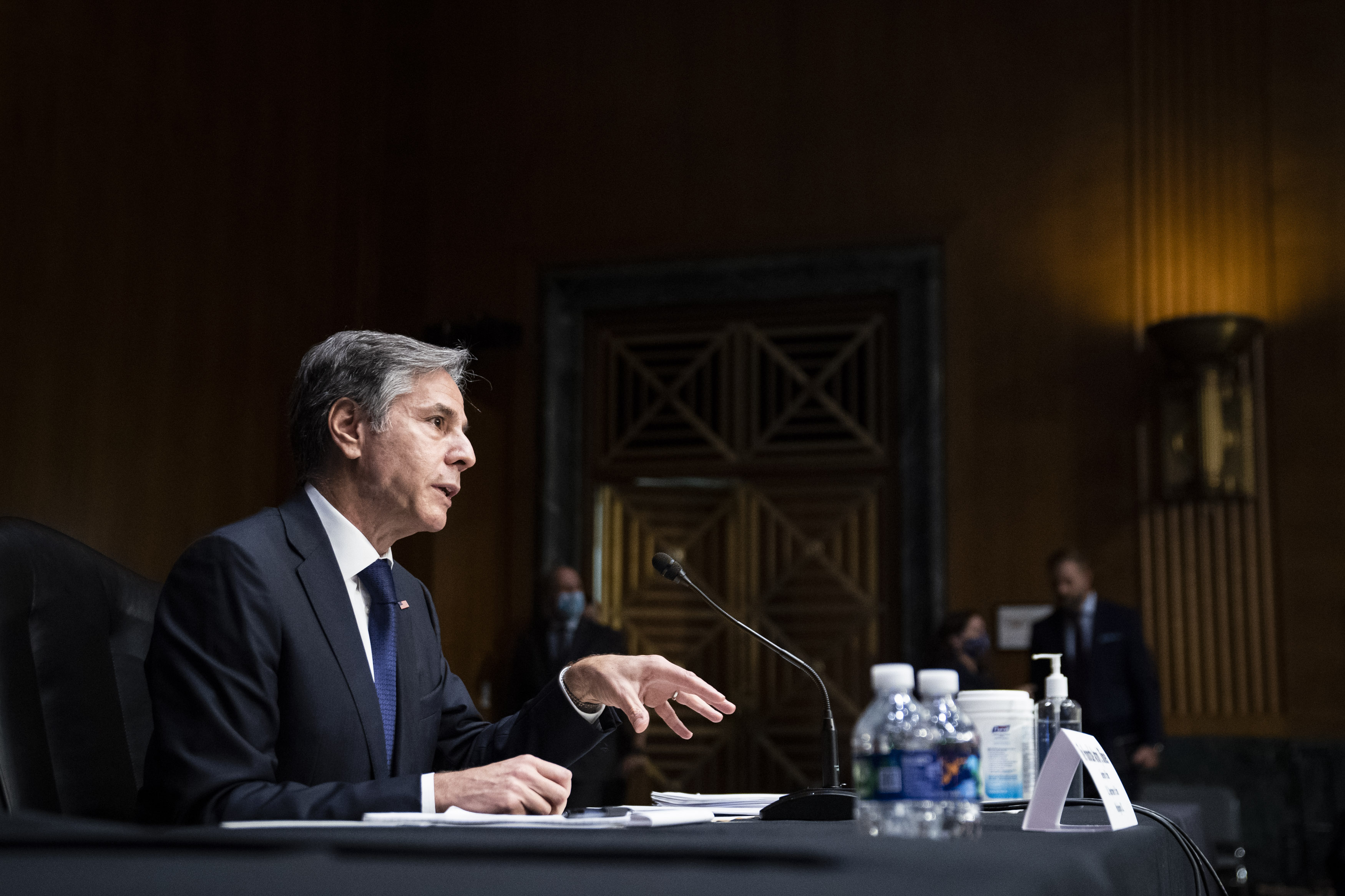U.S. Secretary of State Antony Blinken testifies during a Senate Foreign Relations Hearing to examine the United States withdrawal from Afghanistan on Capitol Hill on September. 14, 2021 in Washington, DC. (Photo by Jabin Botsford - Pool/Getty Images)