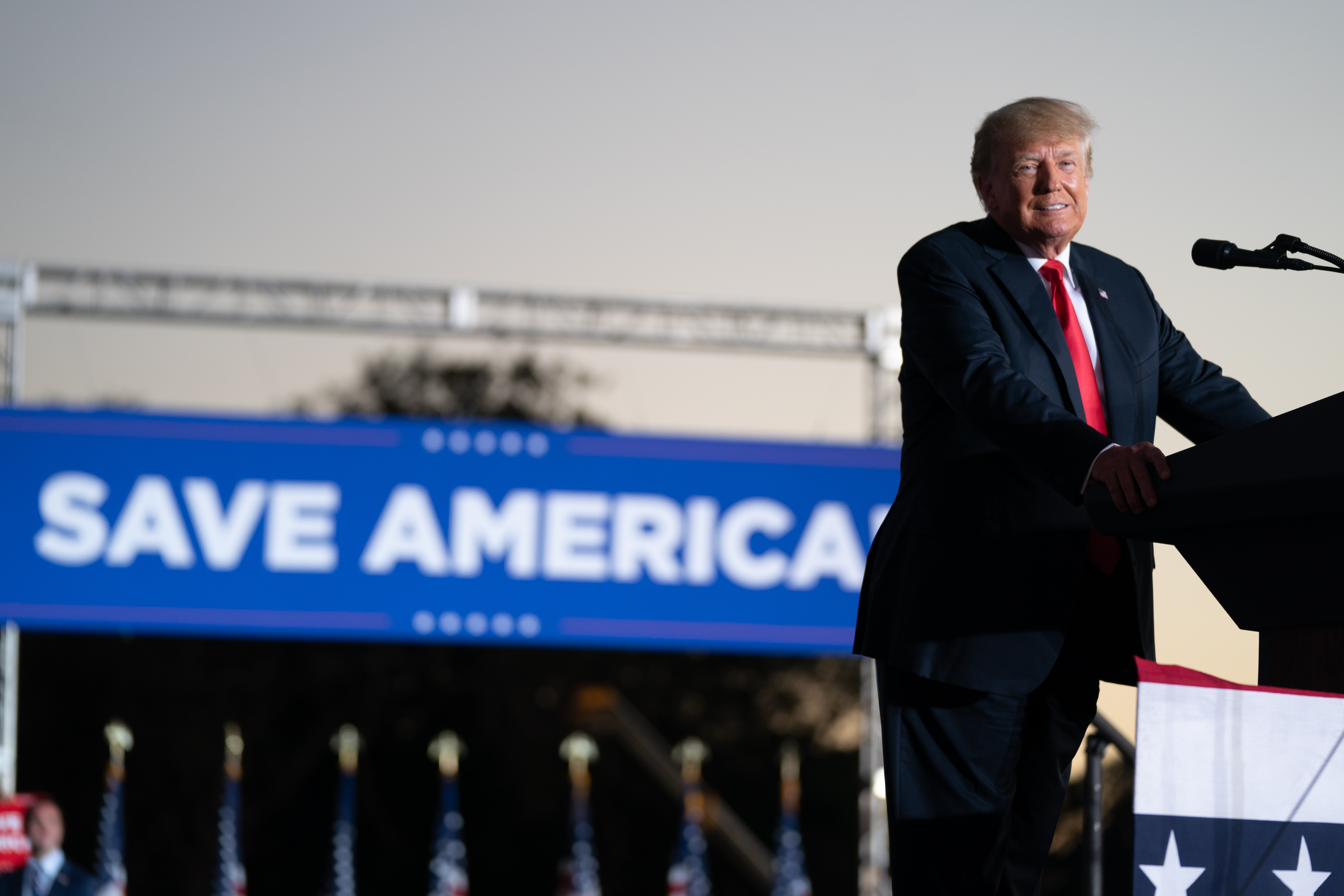 President Donald Trump speaks at a rally on September 25, 2021 in Perry, Georgia. (Photo by Sean Rayford/Getty Images)