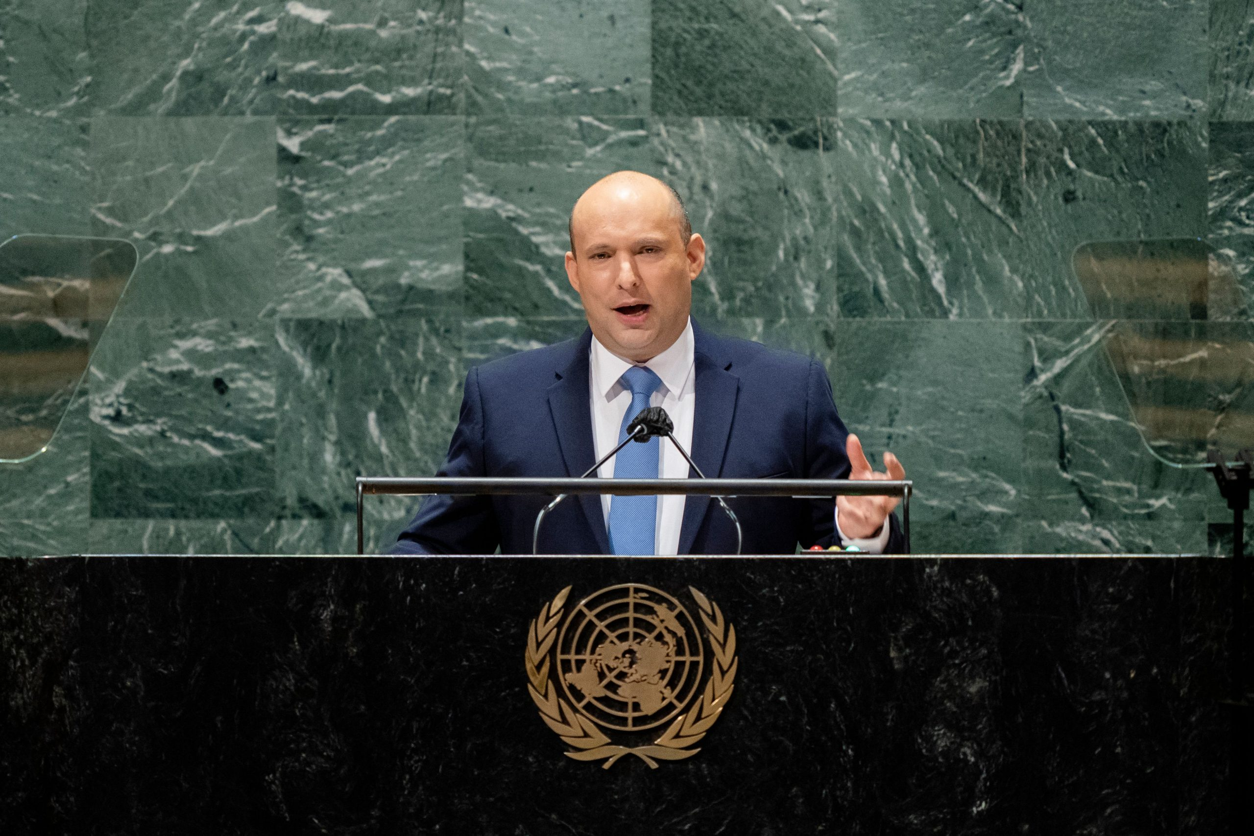 Israels prime minister Naftali Bennett addresses the 76th Session of the United Nations General Assembly, on September 27, 2021, at UN headquarters in New York. (Photo by JOHN MINCHILLO/POOL/AFP via Getty Images)