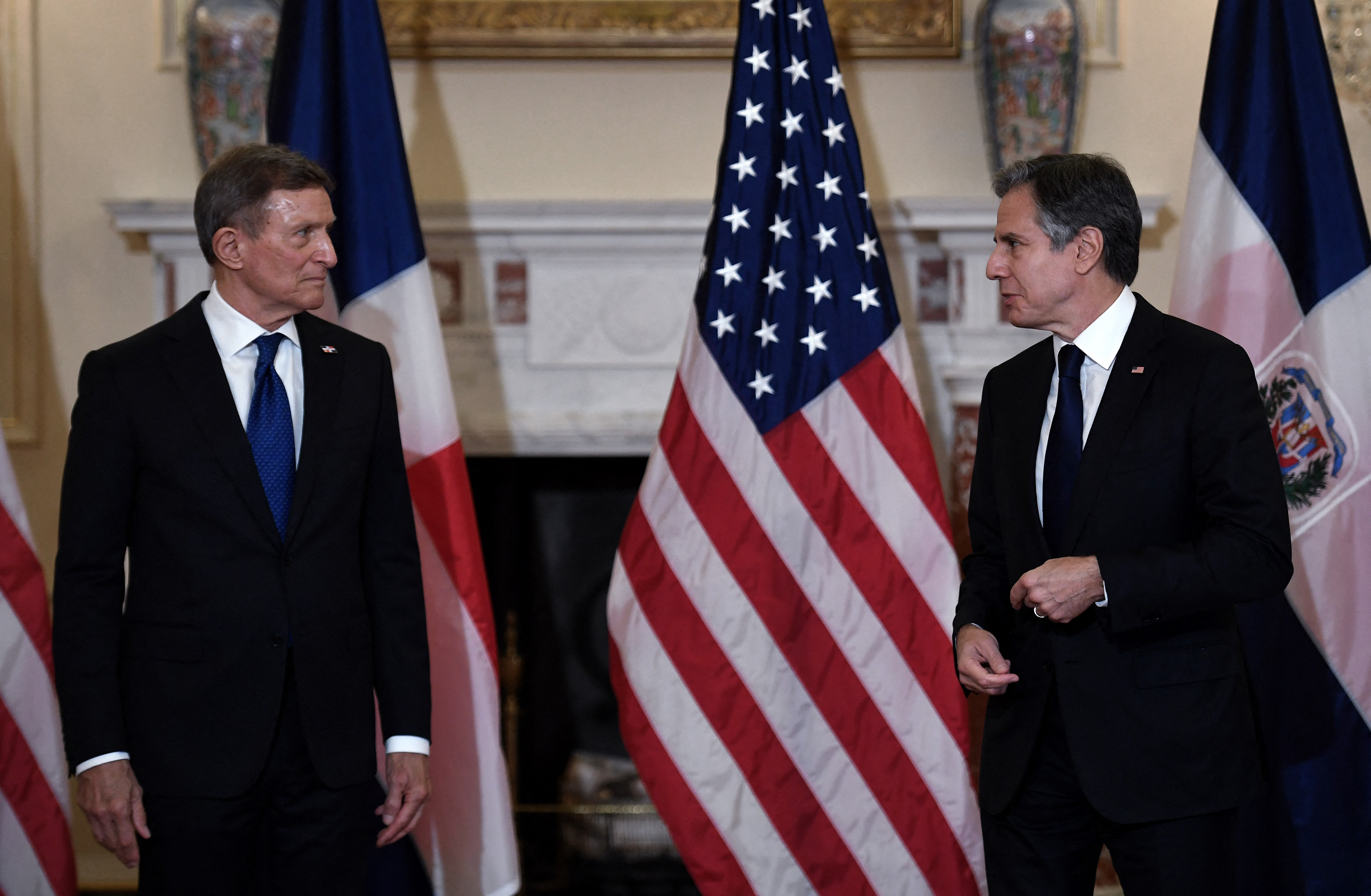 U.S. Secretary of State Antony Blinken (right) and Dominican Republic's Foreign Minister Roberto Alvarez speak to the press at the State Department in Washington, DC on September 28, 2021. (Photo by OLIVIER DOULIERY/POOL/AFP via Getty Images)