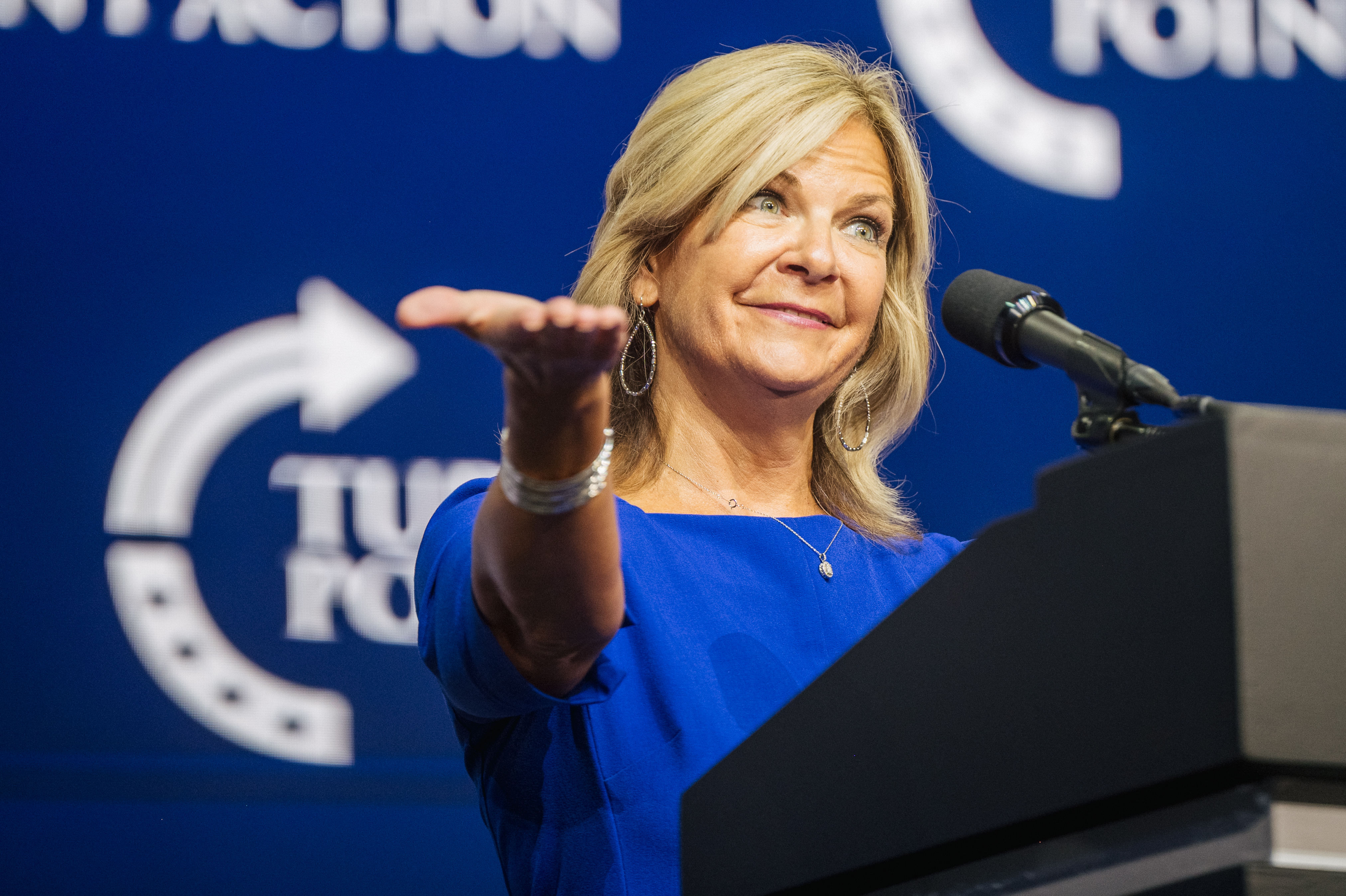 Arizona Chairwoman Kelli Ward speaks during the Rally To Protect Our Elections conference in Phoenix, Arizona. (Photo by Brandon Bell/Getty Images)