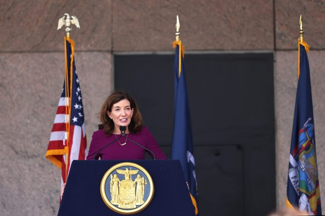New York Gov. Kathy Hochul in New York City. (Photo by Michael M. Santiago/Getty Images)