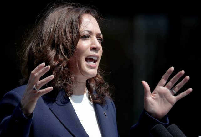 Kamala Harris speaks during a No on the Recall campaign event with California Gov. Gavin Newsom at IBEW-NECA Joint Apprenticeship Training Center on September 08, 2021 in San Leandro, California.