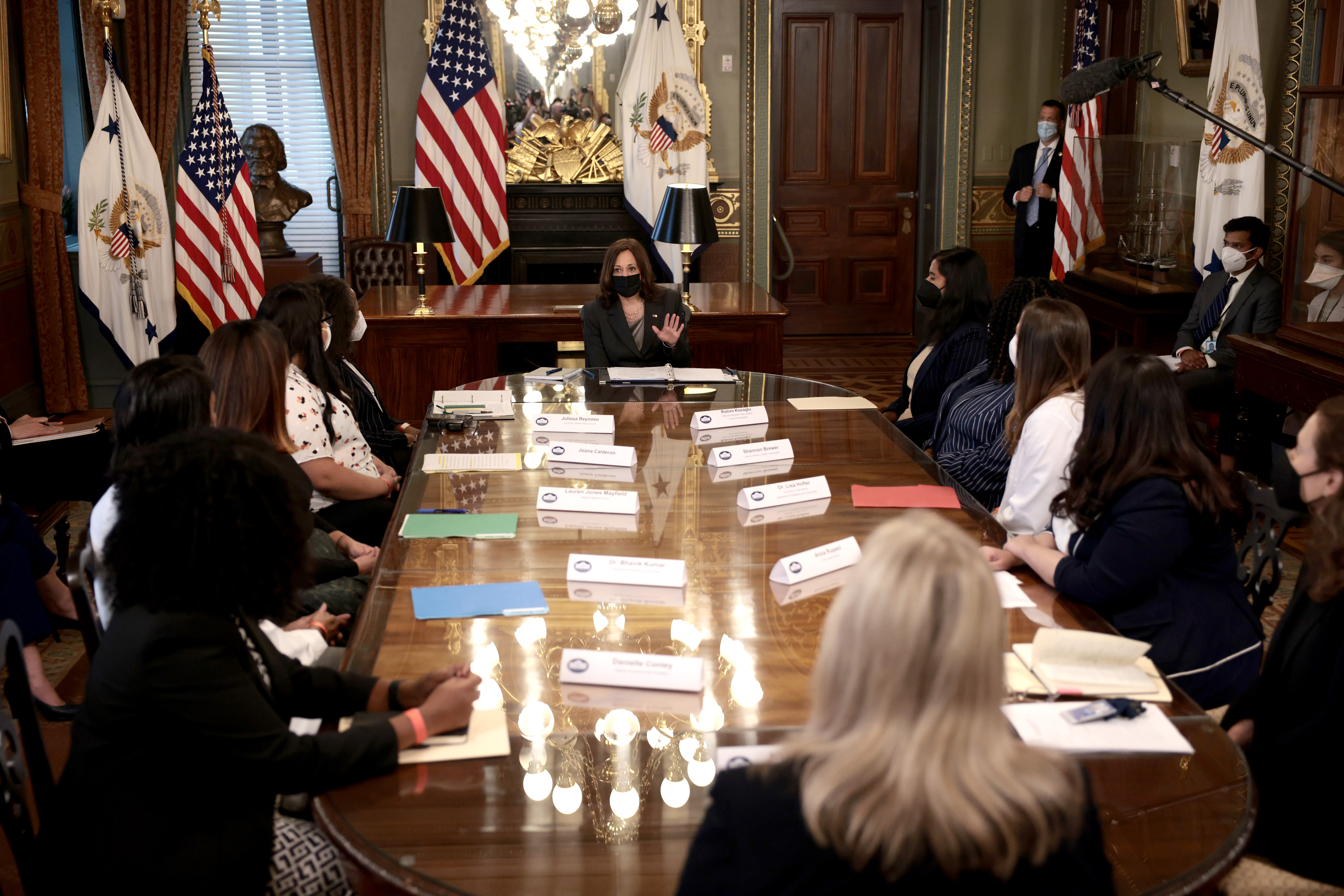 Kamala Harris speaks during a roundtable discussion on reproductive rights with health workers and women's rights activists in the Eisenhower Office Building in Washington, D.C. (Photo by Anna Moneymaker/Getty Images)