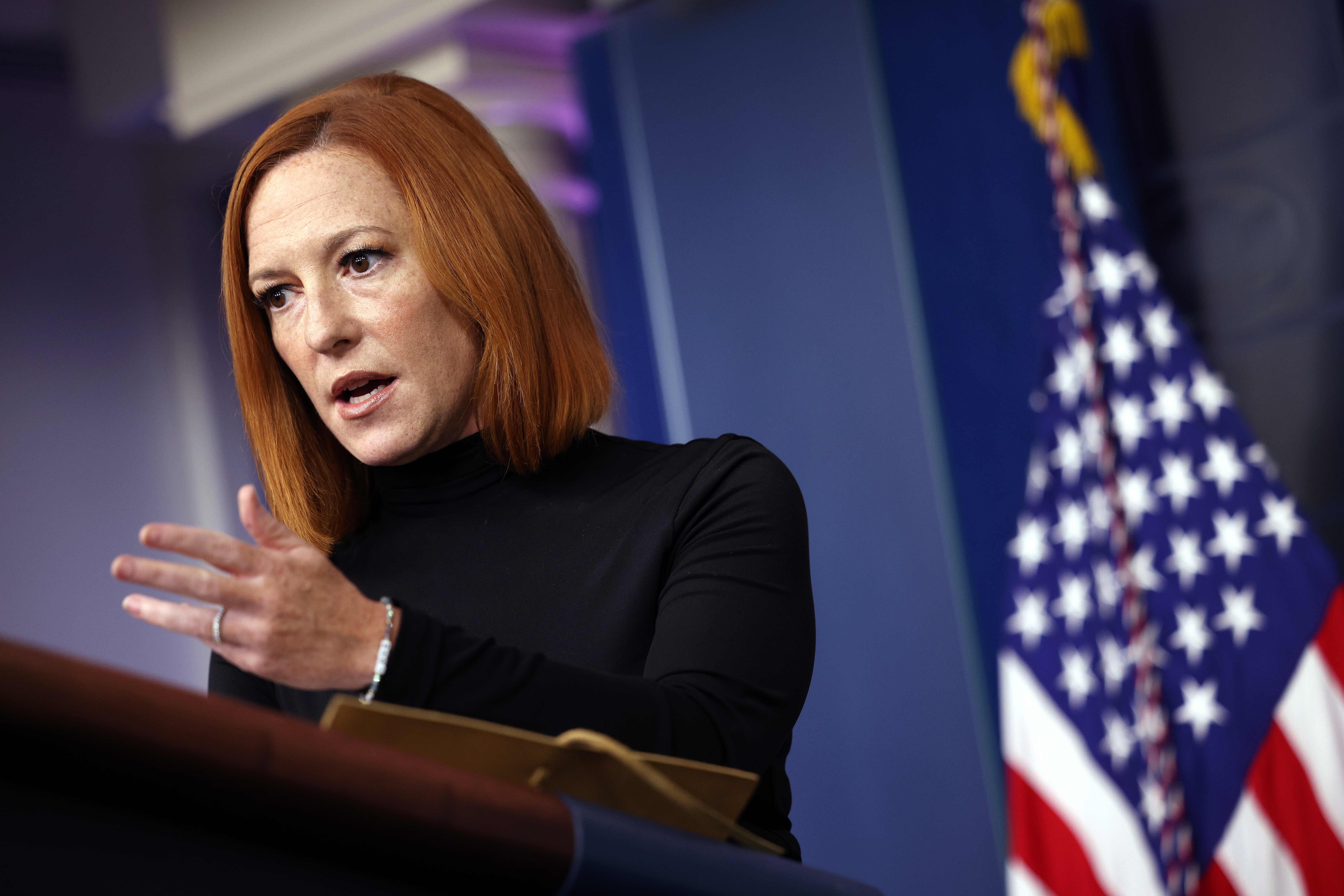White House Press Secretary Jen Psaki speaks during a press briefing at the White House in Washington, D.C. (Photo by Kevin Dietsch/Getty Images)
