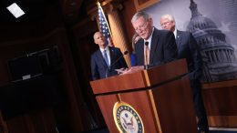 Sen. James Inhofe (R-Okla.) speaks during a news conference on Capitol Hill September 14, 2021 in Washington, DC. Inhofe joined other Republican members of the Senate Armed Services Committee in discussing the current situation in Afghanistan. Also pictured are Sen. Rick Scott (R-Fla.) and Sen. Roger Wicker (R-Miss.). (Photo by Win McNamee/Getty Images)