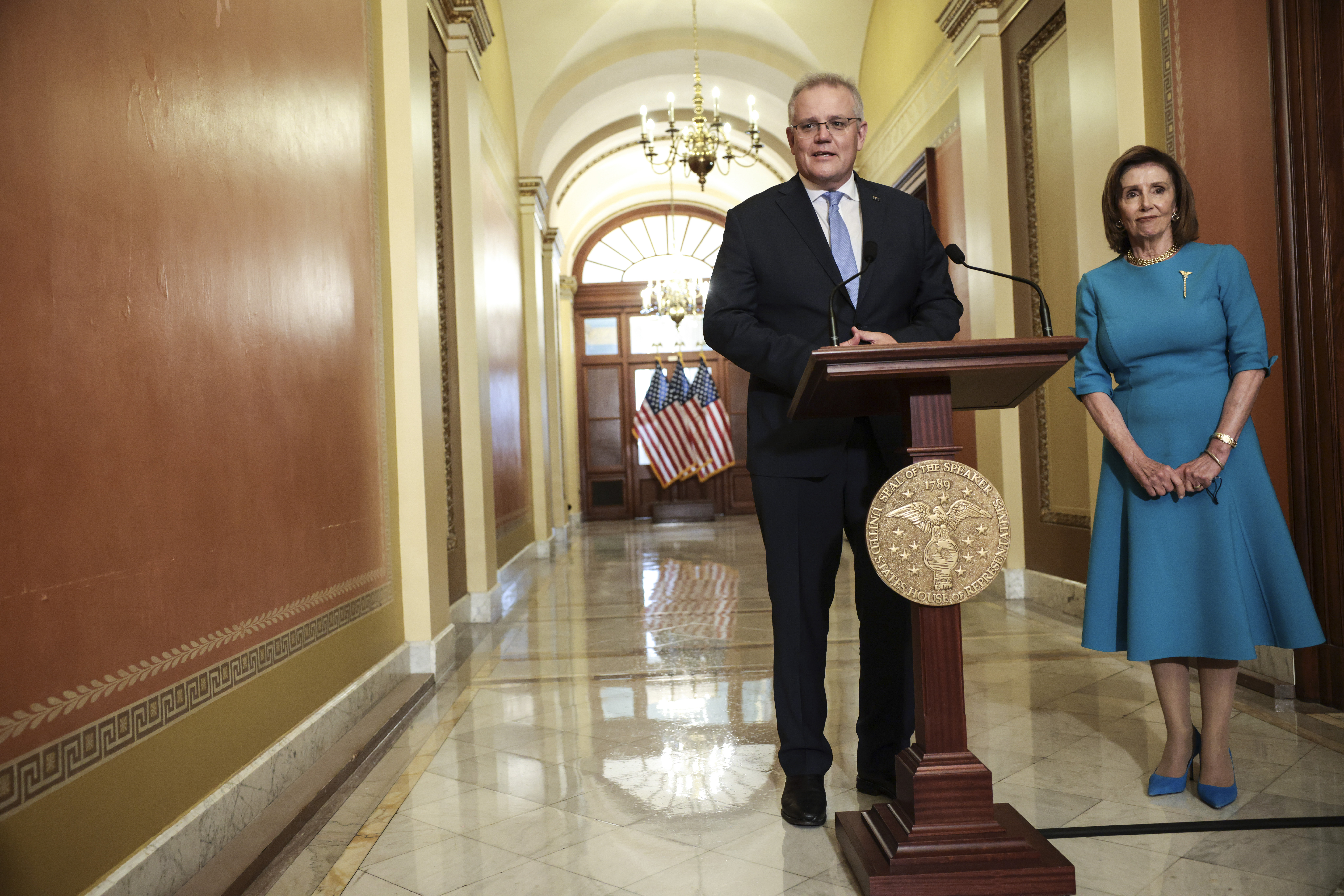 Australian Prime Minister Scott Morrison gives remarks after being welcomed by House Speaker Nancy Pelosi (D-Calif.) outside her office in the U.S. Capitol on September 22, 2021 in Washington, D.C. (Photo by Anna Moneymaker/Getty Images)
