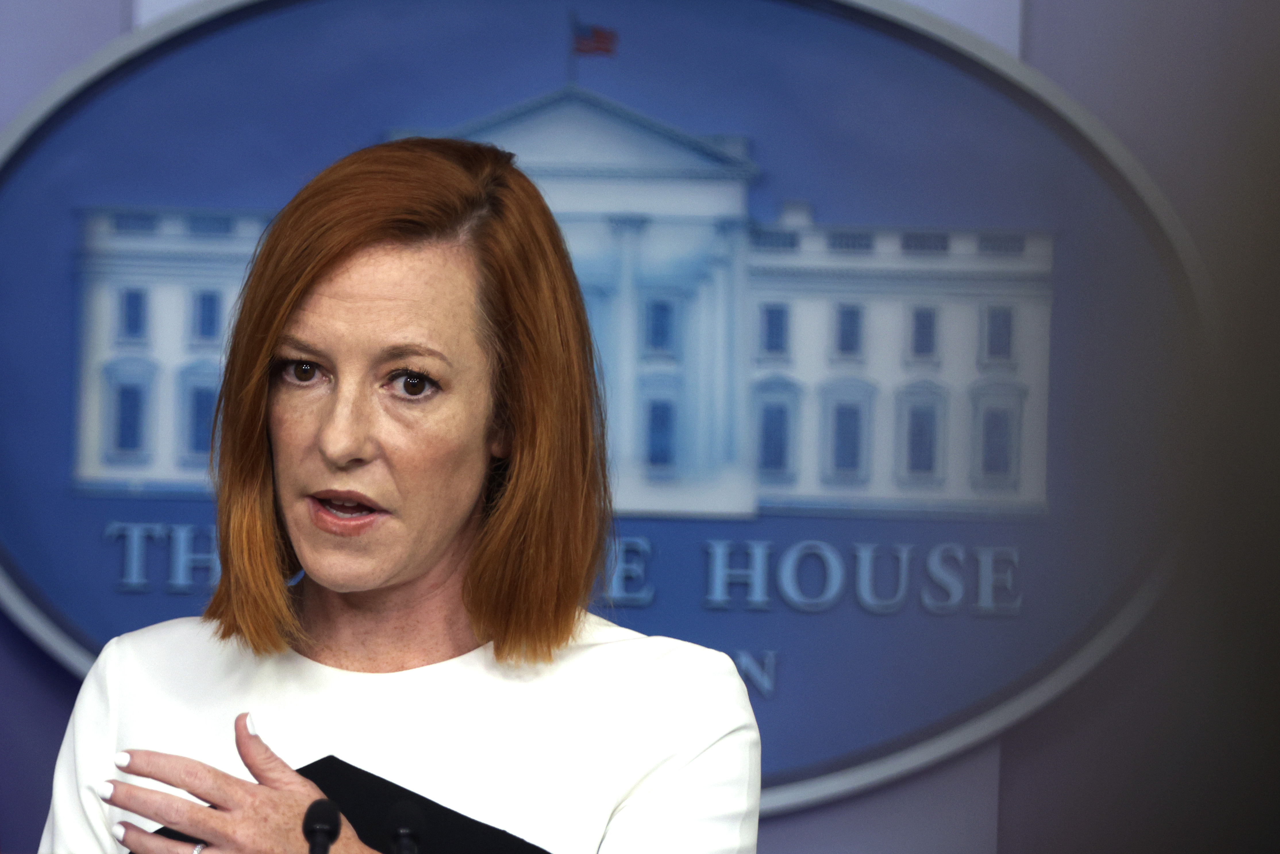 White House Press Secretary Jen Psaki speaks during a daily press briefing at the James S. Brady Press Briefing Room of the White House in Washington, DC. (Photo by Alex Wong/Getty Images)