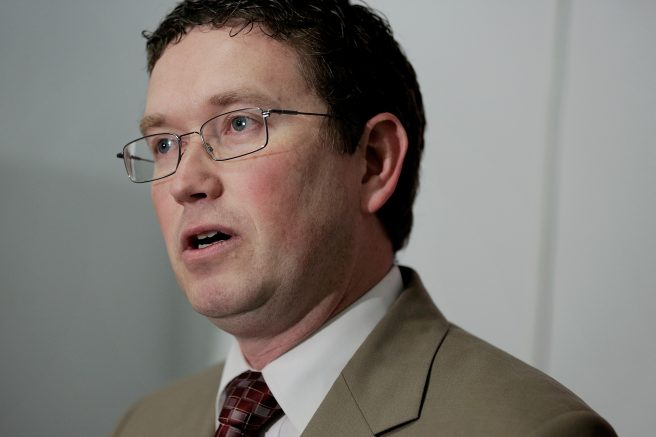 Rep. Thomas Massie (R-Ky.) in the Cannon House Office Building in Washington, D.C. (Photo by T.J. Kirkpatrick/Getty Images)