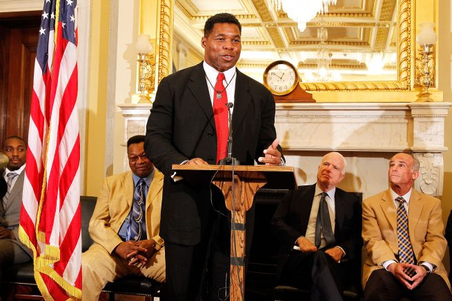 Herschel Walker speaks at a press conference in the Russell Senate Building in Washington, D.C. (Photo by Paul Morigi/Getty Images for Spike TV)
