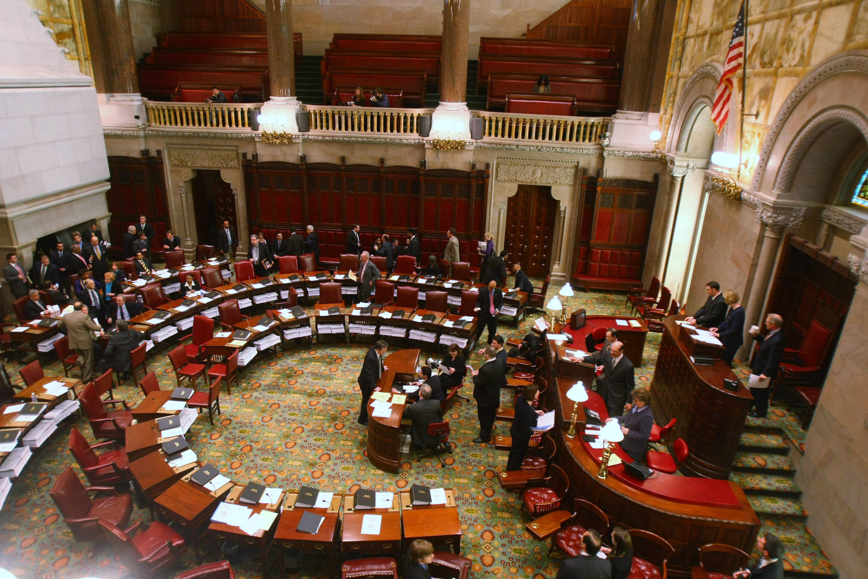 The Senate floor is seen inside the State Capitol in Albany, New York. (Photo by Daniel Barry/Getty Images)
