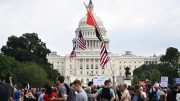 """Demonstrators gather for the """"Justice for J6"""" rally in Washington, DC, on September 18, 2021, in support of the pro-Trump rioters who ransacked the US Capitol on January 6, 2021. - Washington was on high alert for the rally with security forces better prepared to avoid a repeat of the January 6 attack on the Capitol. US Capitol police said they have no indication of a specific plot associated with the rally, but warned in a news conference there had been """"some threats of violence,"""" with a counter-rally scheduled to take place nearby. (Photo by PEDRO UGARTE / AFP) (Photo by PEDRO UGARTE/AFP via Getty Images)"""