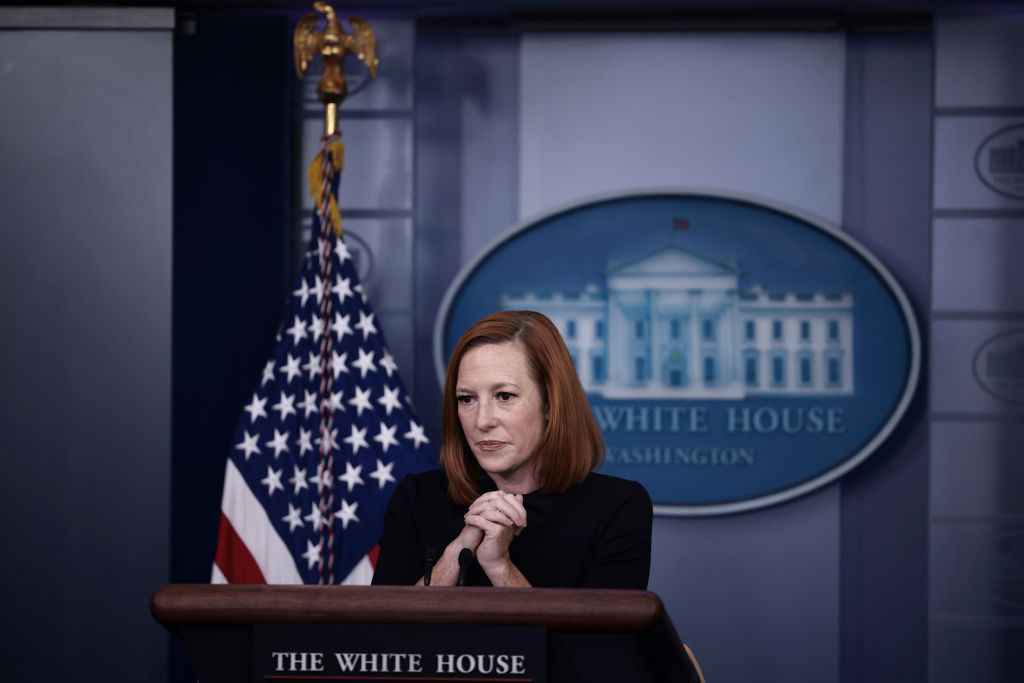 WASHINGTON, DC - SEPTEMBER 30: White House Press Secretary Jen Psaki listens to a question during a press briefing in the James Brady Press Briefing Room of the White House on September 30, 2021 in Washington, DC. Psaki took questions from reporters on numerous topics including the continued negotiations between President Joe Biden and members of Congress over legislation for his Build Back Better agenda. (Photo by Anna Moneymaker/Getty Images)