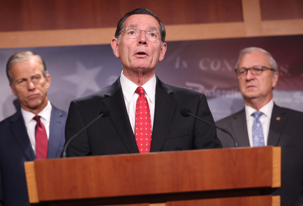WASHINGTON, DC - AUGUST 04: Sen. John Barasso (R-WY), joined by fellow Republican Senators, speaks on a proposed Democratic tax plan during a press conference at the U.S. Capitol on August 04, 2021 in Washington, DC. The Senators spoke out on the tax proposal saying that it will hurt job growth and the middle class. (Photo by Kevin Dietsch/Getty Images)