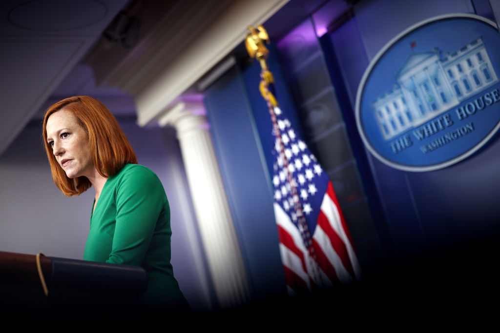 WASHINGTON, DC - SEPTEMBER 09: White House Press Secretary Jen Psaki speaks during a press briefing at the White House on September 09, 2021 in Washington, DC. Psaki spoke on President Biden's upcoming announcement on combating the COVID-19 Delta variant. (Photo by Kevin Dietsch/Getty Images)