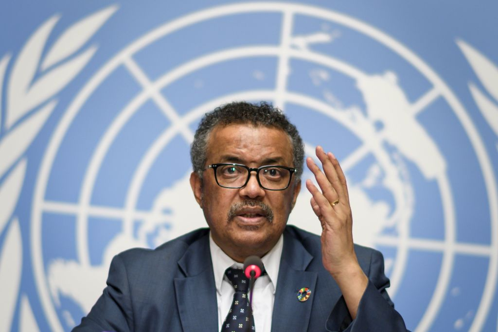 World Health Organization (WHO) Director General Tedros Adhanom Ghebreyesus gestures during a press conference following an International Health Regulations Emergency Committee on an Ebola outbreak in Democratic Republic of the Congo on May 18, 2018 at the United Nations Office in Geneva. (Photo by Fabrice COFFRINI / AFP) (Photo by FABRICE COFFRINI/AFP via Getty Images)