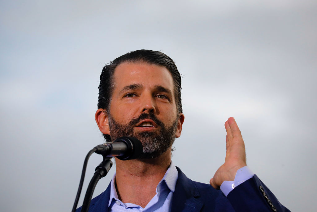 SARASOTA, FL - JULY 03: Donald J. Trump Jr. speaks during a rally on July 3, 2021 in Sarasota, Florida. Co-sponsored by the Republican Party of Florida, the rally marks Trump's further support of the MAGA agenda and accomplishments of his administration. (Photo by Eva Marie Uzcategui/Getty Images)