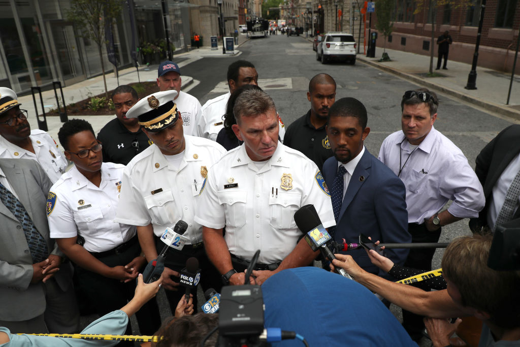 BALTIMORE, MARYLAND - SEPTEMBER 09: Col. Richard Worley of the Baltimore City Police Department addresses the media following an investigation of a suspicious van in a parking garage on September 09, 2019 in Baltimore, Maryland. Authorities evacuated nearby buildings after containers of gas where found in a van. (Photo by Rob Carr/Getty Images)
