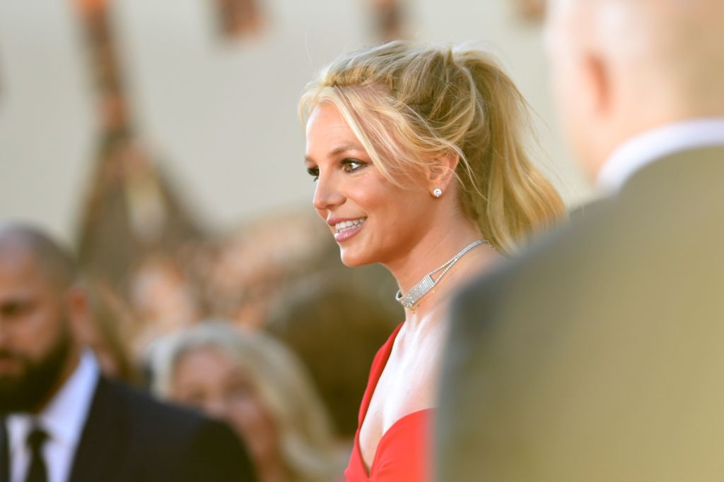 """US singer Britney Spears arrives for the premiere of Sony Pictures' """"Once Upon a Time... in Hollywood"""" at the TCL Chinese Theatre in Hollywood, California on July 22, 2019. (Photo by VALERIE MACON / AFP) (Photo by VALERIE MACON/AFP via Getty Images)"""