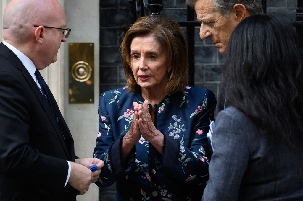LONDON, ENGLAND - SEPTEMBER 16: US Ambassador to the UK Philip Reeker (L) speaks with US House Speaker Nancy Pelosi (C) and her husband Paul Pelosi following a meeting with Prime Minister Boris Johnson at Downing Street on September 16, 2021 in London, England. The speaker of the United States House of Representatives is in the UK to participate in the G7 Heads of Parliament Conference this week in Chorley, England.